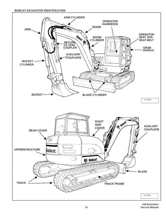 Bobcat 442 Compact Excavator, OEM Factory Service Repa