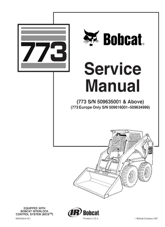 Bobcat 773 (including European Models), OEM Service Re