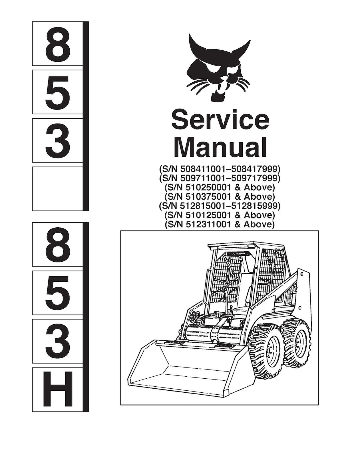 Bobcat 853 And 853h Skid Steer Loader Oem Service Andrhsellfy: Wiring Diagram For Bobcat 853 At Gmaili.net