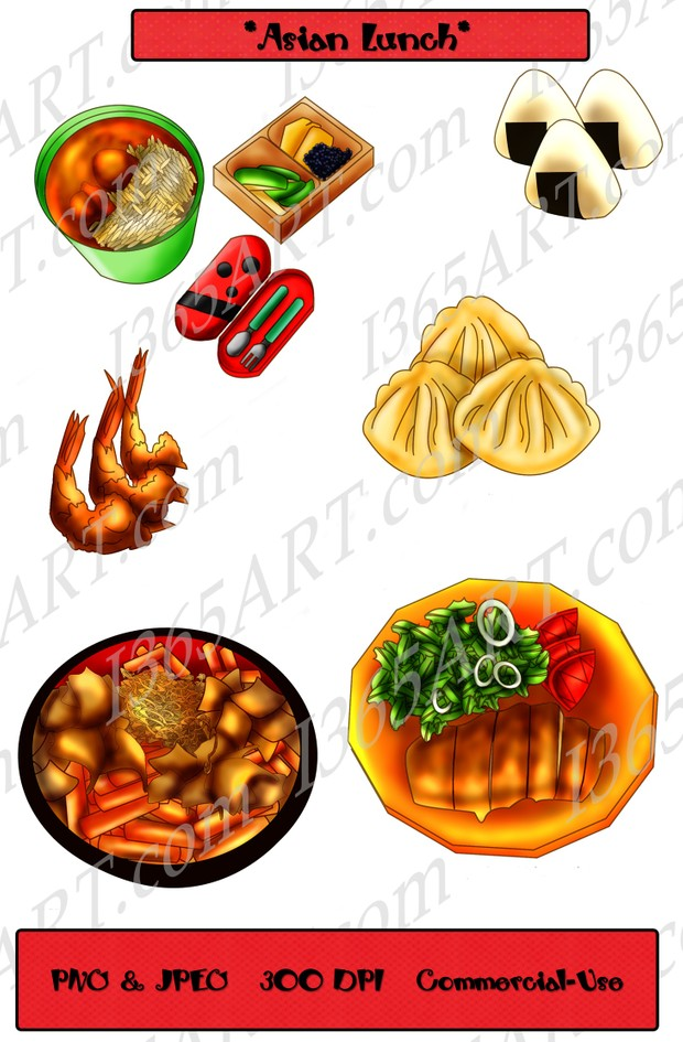 Asian Lunch Clipart Clip Art Food Scrapbooking Graphics