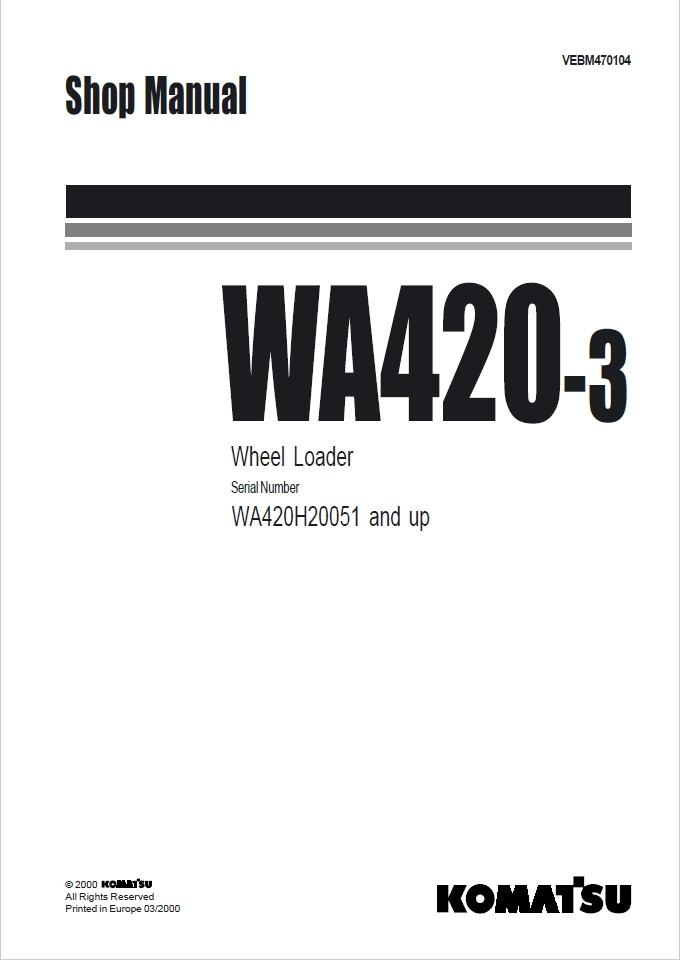 Komatsu Shop Manual WA420-3 WA420H20051 and up Wheel L