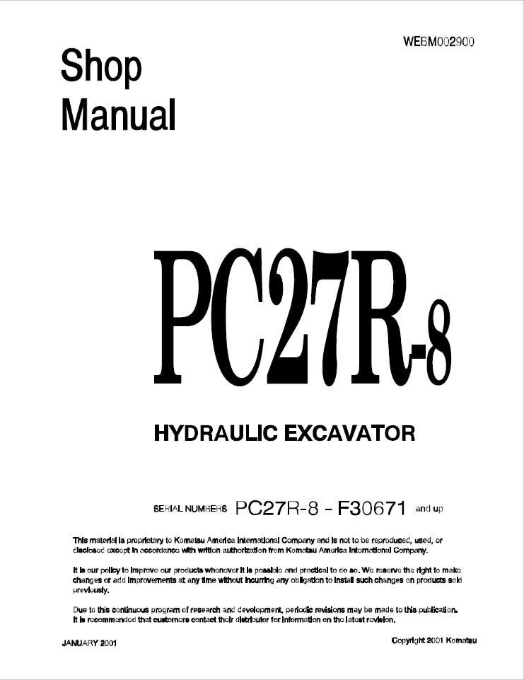 Komatsu Shop Manual PC27R-8 F30671 and up Hydraulic Ex
