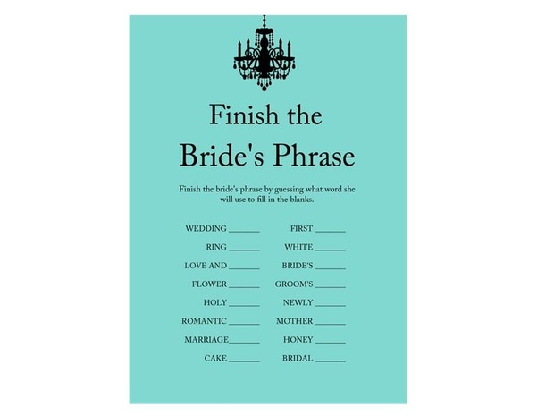 Chandelier Bridal Shower finish The phrase Game