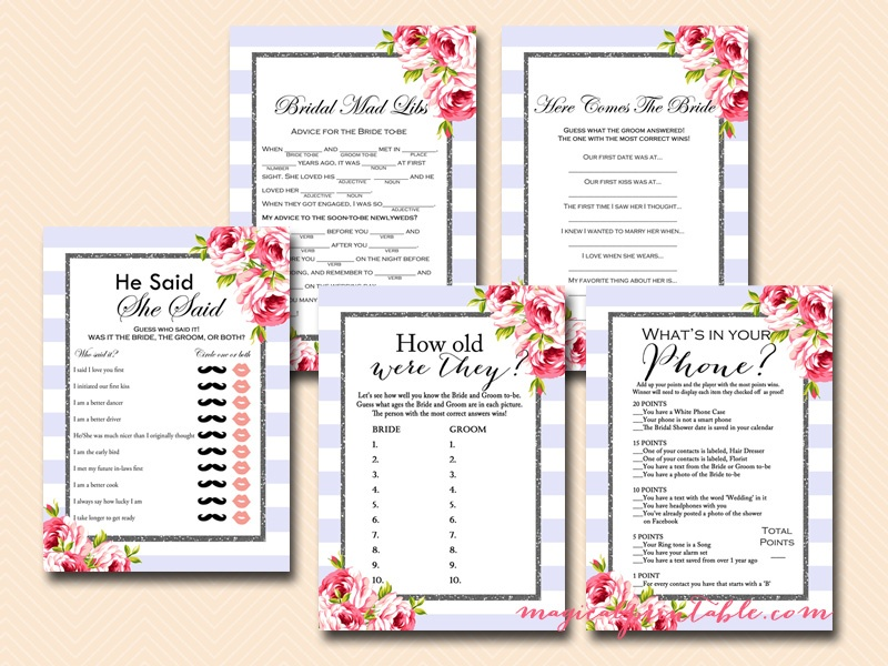 photograph regarding Bridal Shower Games Printable identified as Pink Bridal Shower Video game Printables