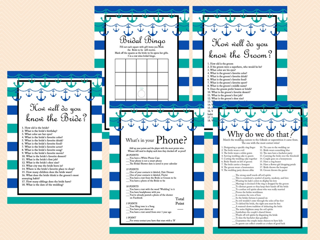 photograph about Bridal Shower Games Printable named Teal Nautical Bridal Shower Game titles, Seashore