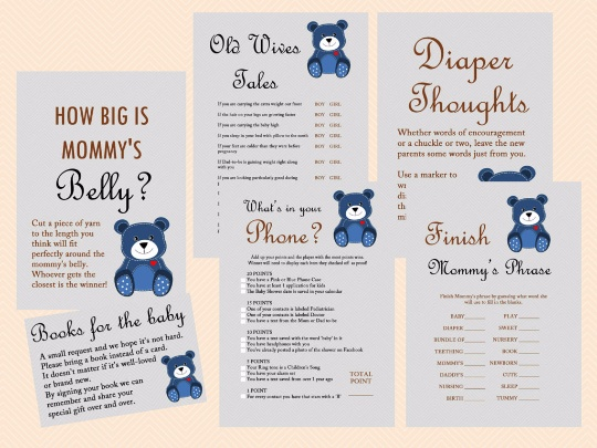 photo relating to How Big is Mommy's Belly Free Printable named Teddy Go through Youngster Shower Game titles Printables