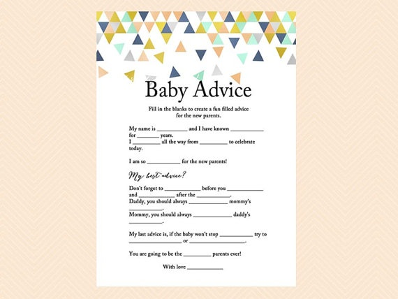 picture relating to Mad Libs Printable Pdf called Geometric Kid shower Crazy Libs Activity