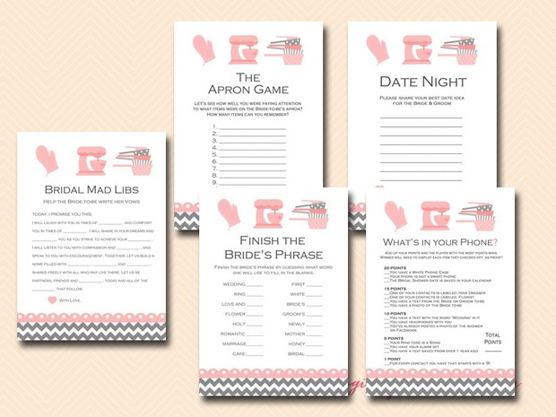 kitchen theme bridal shower game pack