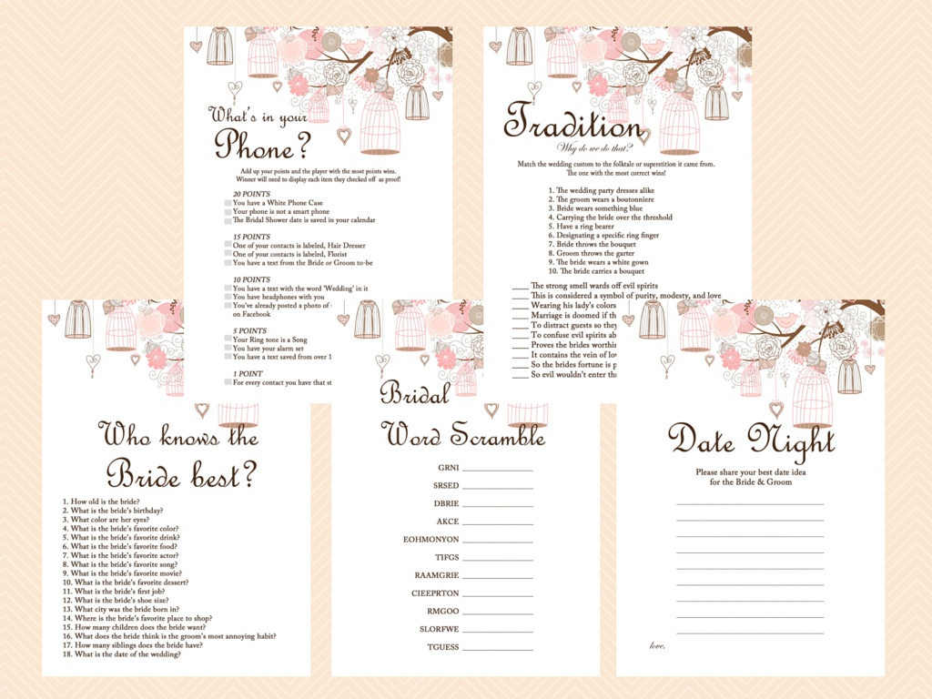 graphic about Bridal Shower Games Printable named Purple Bridal Shower Recreation Printables Pack, Bachelorette Online games, Birdcage, Fowl BS42