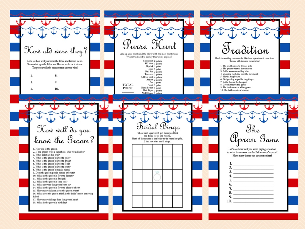 image about Bridal Shower Games Printable named Nautical Bridal Shower Game titles, Seashore, Purple and Armed service