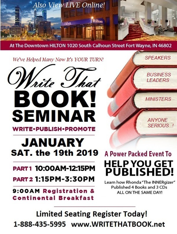 $99 Payment on WRITE THAT BOOK!  Seminar  (View ONLINE  or  ATTEND LIVE)