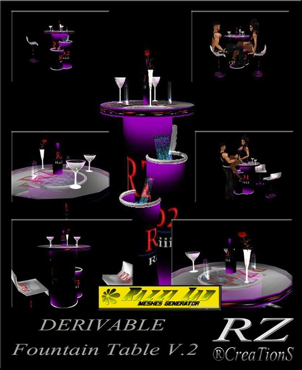 103. Fountain Table V.2 With Poses Mesh Furniture
