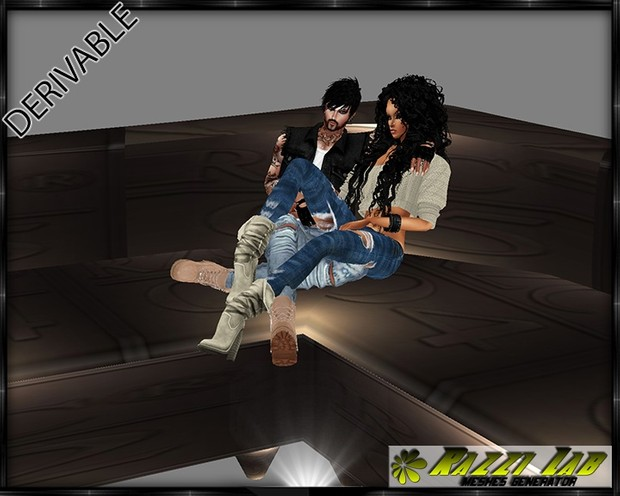 198. Practico Corner Couch With Poses Furniture Mesh