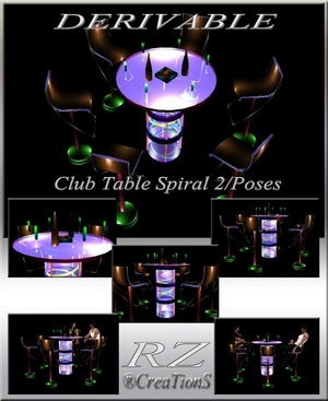 181. Club Table 2 Poses Mesh Furniture