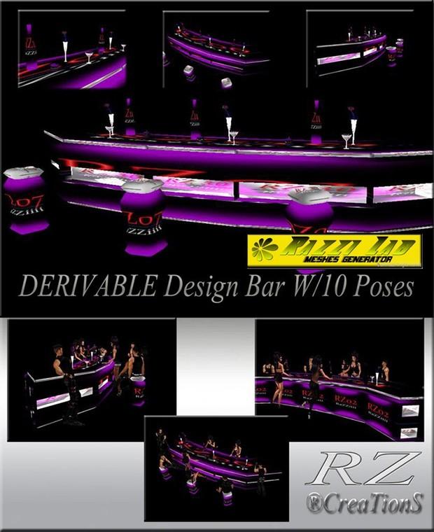 101. Design Bar with poses Mesh Furniture
