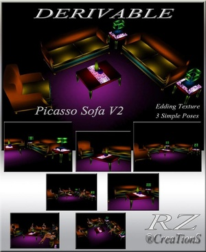 180. Picasso Sofa V 2 With Poses Mesh Furniture