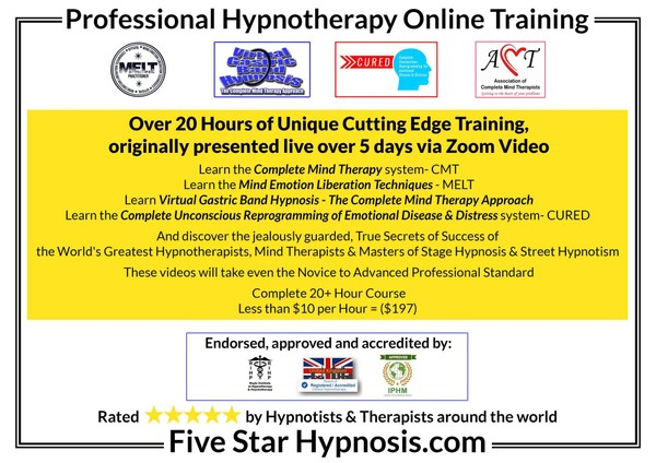 FIVE STAR HYPNOSIS COURSE = VIDEOS OF THE UNIQUE 5 DAYS LIVE ONLINE DIPLOMA STANDARD TRAINING