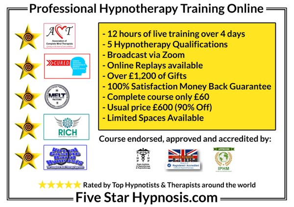 FIVE STAR HYPNOSIS COURSE = 4 DAYS LIVE ONLINE DIPLOMA TRAINING