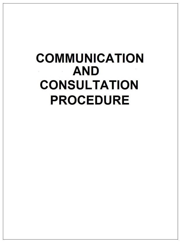 Communication and Consultation Procedure