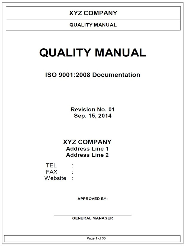 ISO9001 Quality Manual Template - Shernan