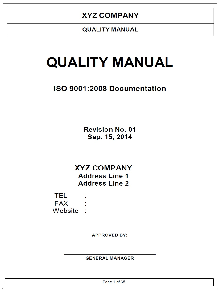Good ISO9001 Quality Manual Template