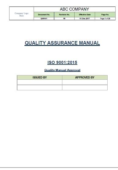 Iso 9001 2015 Quality Manual Template Aishomart