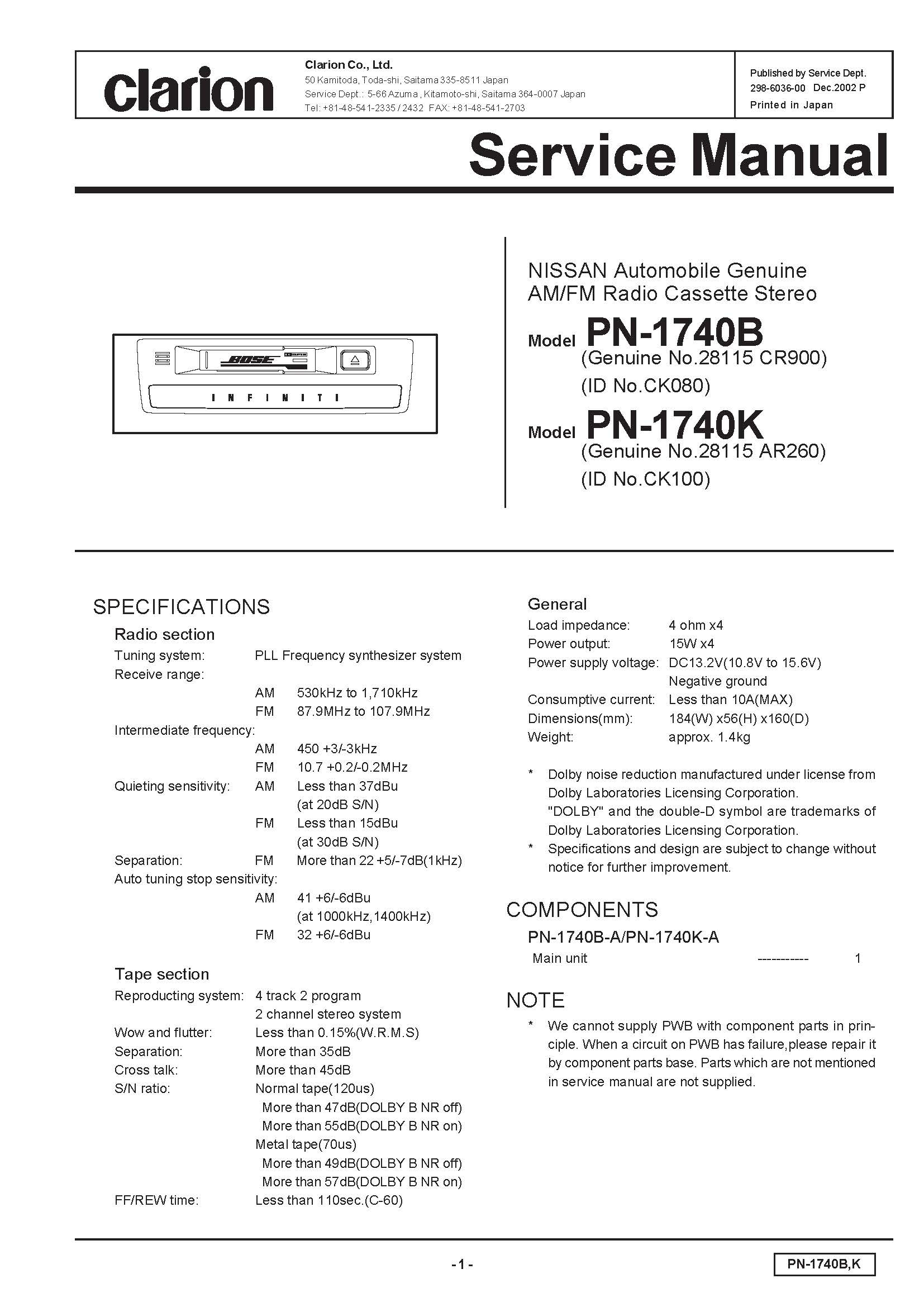Wiring Diagram For Clarion Drb5475 Free Download Schematic Service Manual M3170 Harness At