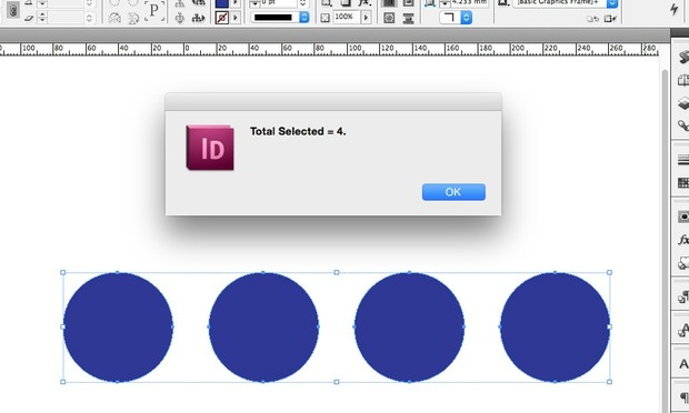 Total objects selected - InDesign Script