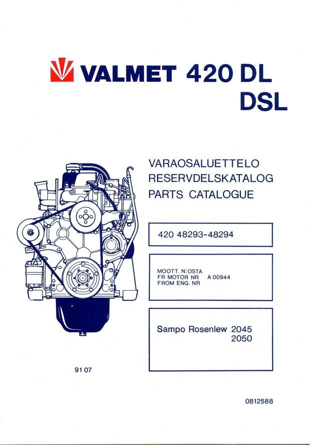 Valmet 420 DL DSL moottori varaosaluettelo