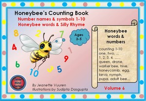 BOOK: HONEYBEE'S COUNTING BOOK VOLUME 6 JEANETTE VUUREN: 1a COLORED BACKGROUND