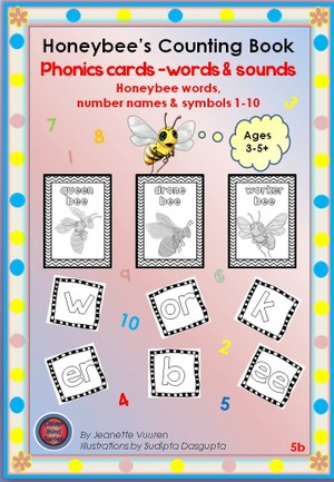 PHONICS FLASH CARDS: HONEYBEE WORDS & PICTURES, NUMBERS 1 - 10 JEANETTE VUUREN: 5b BLACK & WHITE