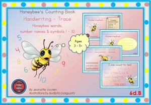 HANDWRITING CARDS: HONEYBEE WORDS & PICTURES & NUMBERS 1 - 10 - COLORED BACKGROUND - 6dB