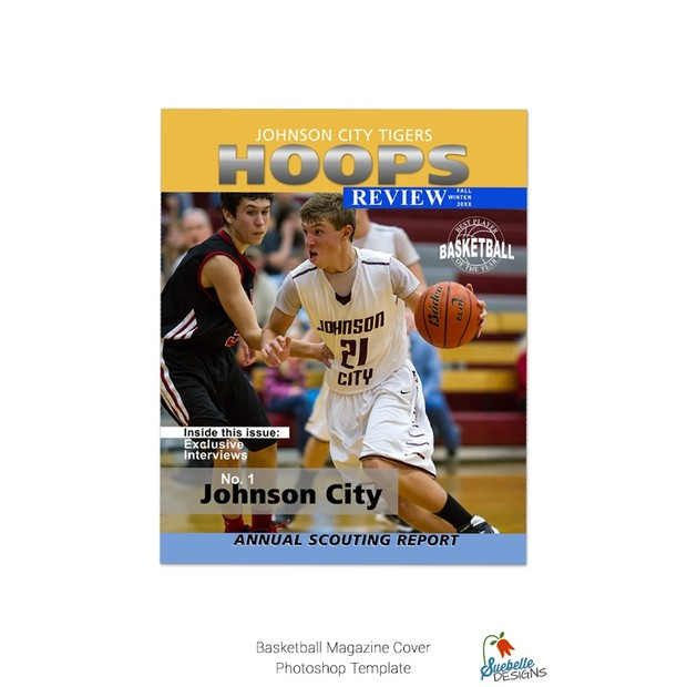 Basketball Magazine Cover Photoshop Template Suebelle Designs