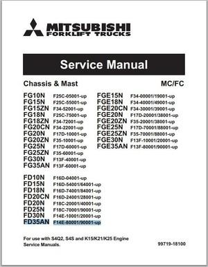 Mitsubishi Forklift Trucks FG10N-35AN, FGE10N-35AN, FD10N-FD35AN Chassis Mast Service Manual