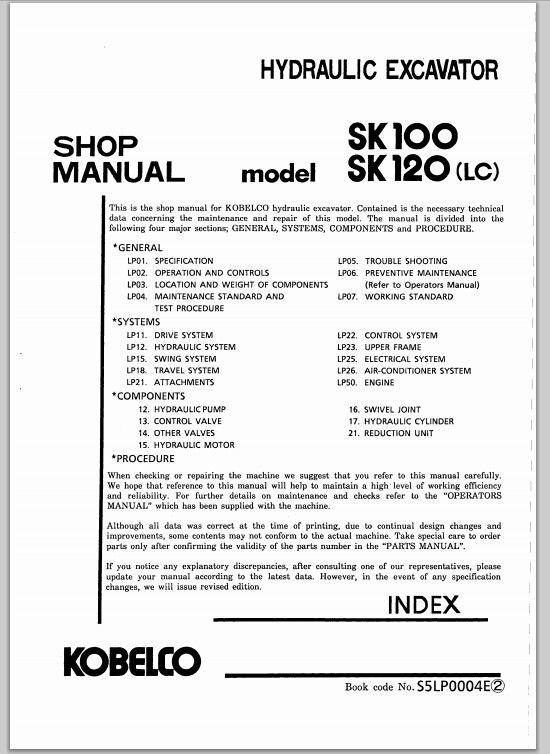 kobelco hydraulic excavator model SK100,SK120(LC) shop manual