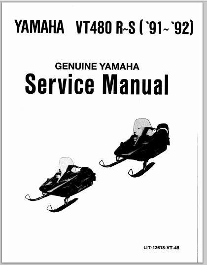 1991-1992 Yamaha VT480 R~S Snowmoblile Workshop Service Repair Manual Download