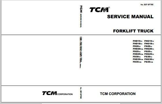 TCM Forklift Truck FHD15T3-FG35T3S Workshop Service Repair Manual Download