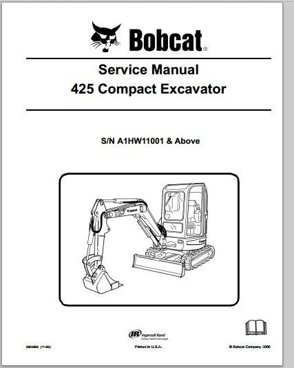 Bobcat 425 Compact Excavator Workshop Service Repair Manual Download