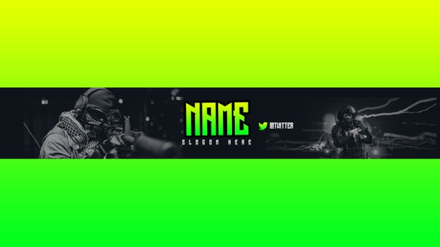 Free Youtube Banner Template-Green Gaming Channelart