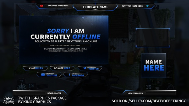 Twitch graphics bundle package photoshop template maxwellsz