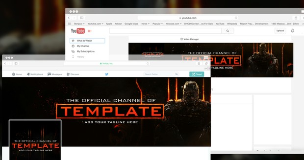 black ops 3 youtube twitter psd template