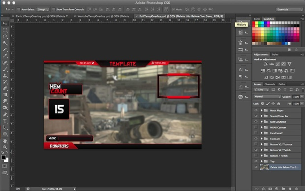 FULL Youtube/Twitch Overlay PSD Template