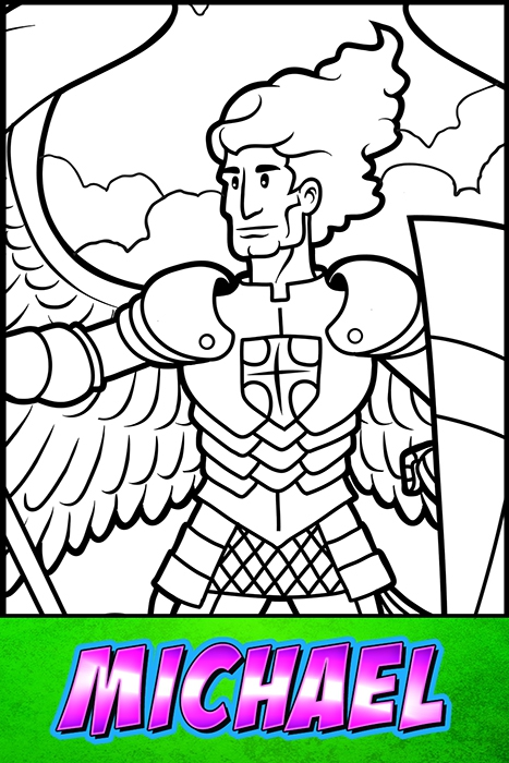 The Heroes Of The Bible Coloring Pages: Michael - BibleHeroes.Art Store