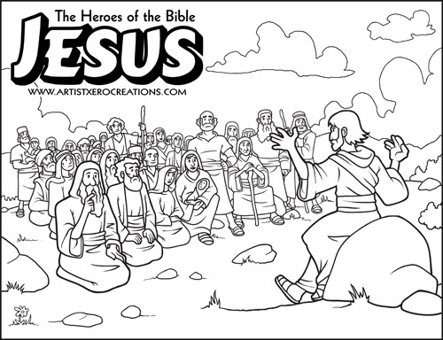 The Heroes Of Bible Coloring Pages Jesus Sermon O