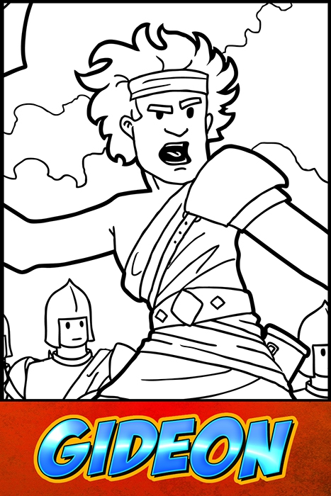 The Heroes Of The Bible Coloring Pages: Gideon - BibleHeroes.Art Store