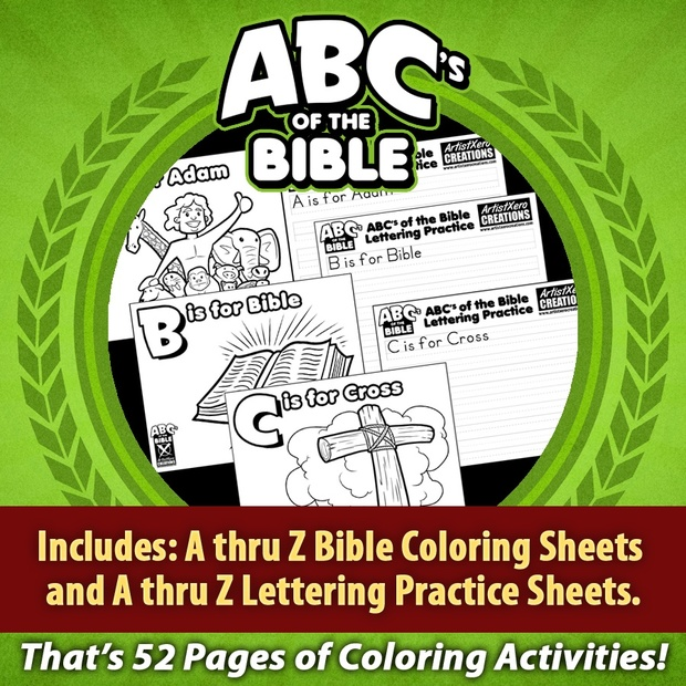 ABC's of the Bible Coloring Pages and Lettering Practice Sheets