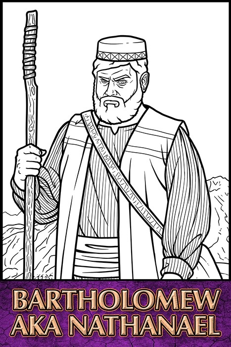 The Apostles of Jesus Christ: Bartholomew aka Nathanael Coloring Page