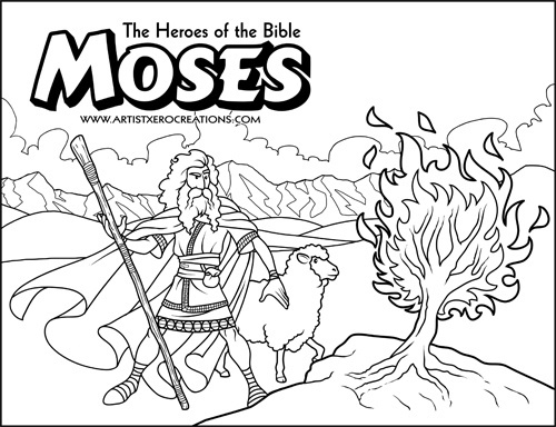 The Heroes of the Bible Coloring Pages: Moses and the Burning Bush