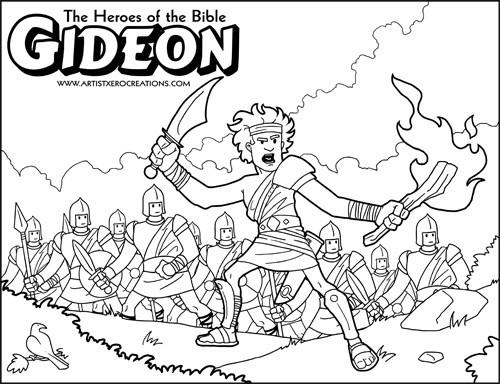 The Heroes of the Bible Coloring Pages: Gideon