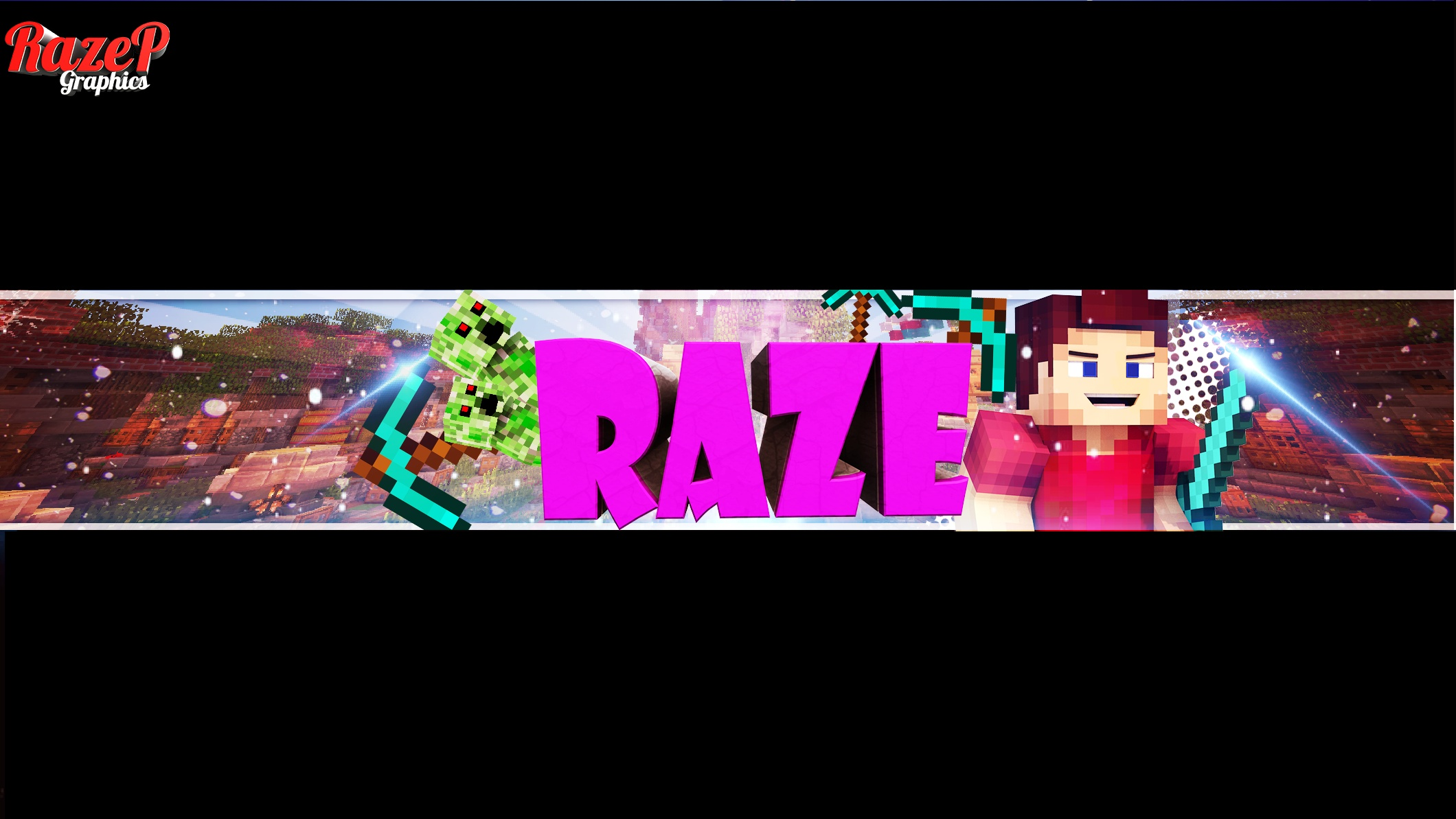 3D Minecraft Channel Art With Avatar